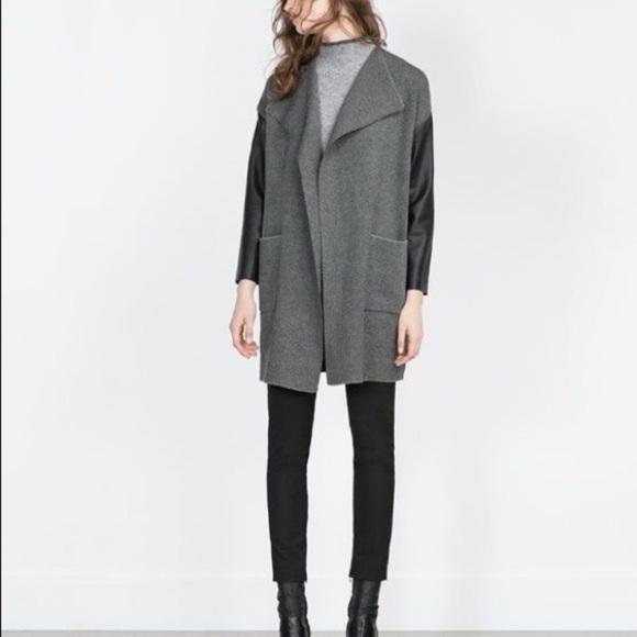25485dd5c9d Zara All-black Long Faux Leather Sleeved Cardigan.  M 5a8824699cc7efdf72e84f47